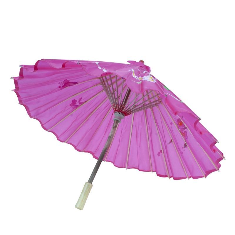 Verkleedaccessoires Carnaval Chinese paraplu roze met bloemen