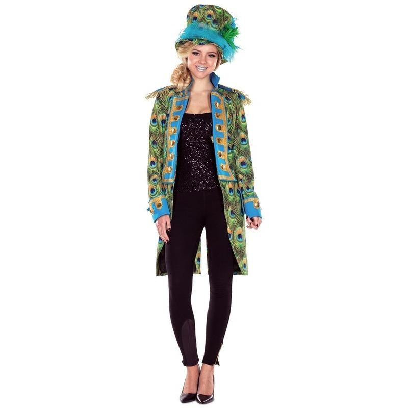 Carnaval Dames pauwenprint verkleedkleding jas