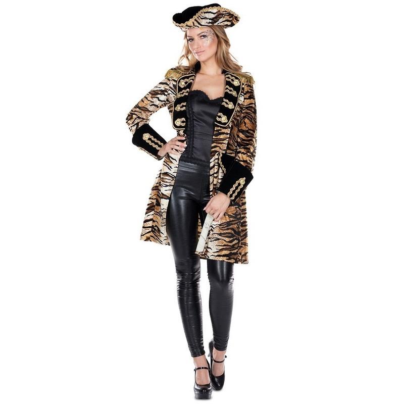 Carnaval Dames tijgerprint verkleedkleding jas