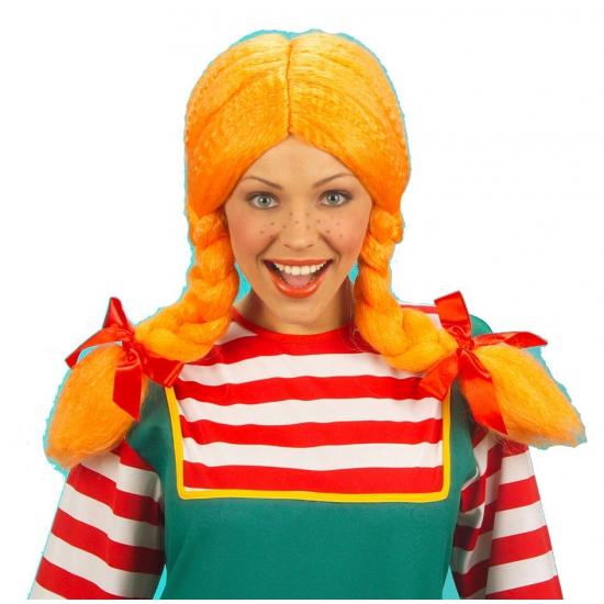 Carnaval damespruik oranje vlechten Carnavalskostuum winkel Pruiken