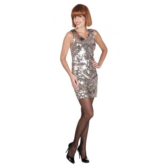 Carnaval Dazzle jurkje zilver met pailletten
