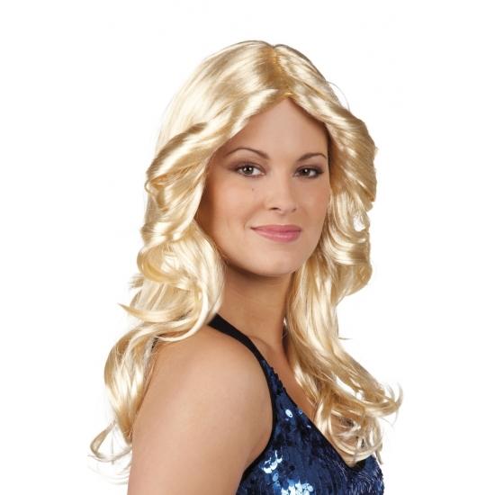 Carnavalskostuum winkel Carnaval Disco pruik blond met krullen Pruiken