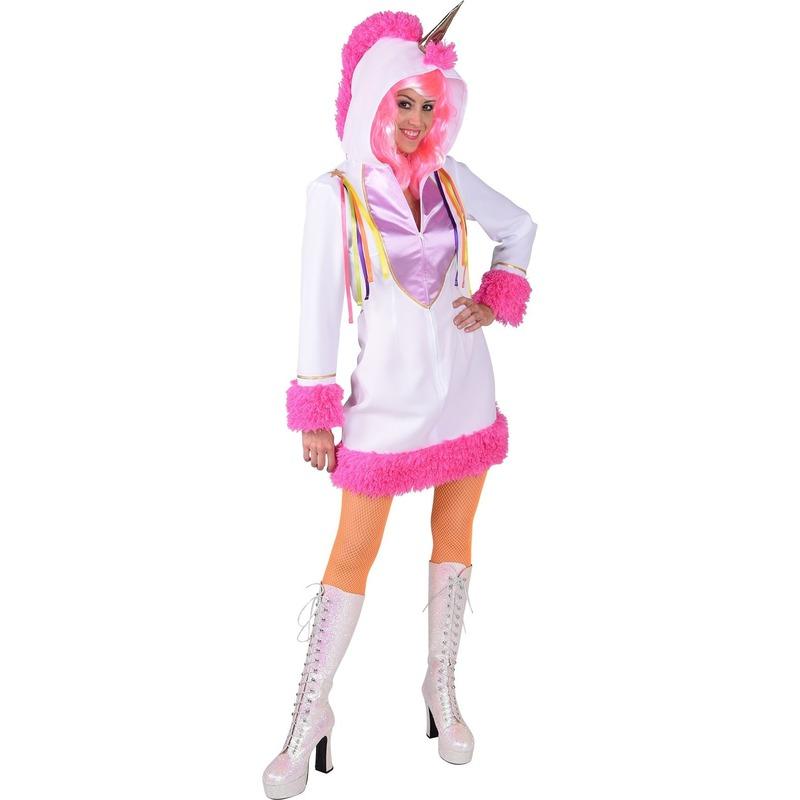 Carnaval Eenhoorn dierenpak jurk wit met capuchon