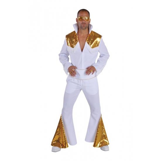 Carnaval Elvis Vegas kostuum wit/goud