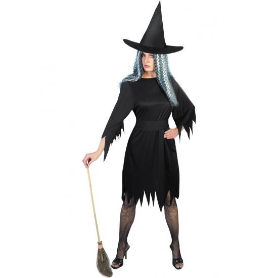 Carnaval Enge heksen kostuum zwart
