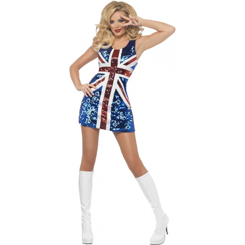 Carnaval Engelse vlag jurkje met pailletten