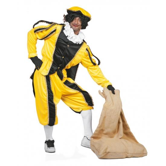 Carnaval Geel/zwarte pieten kostuum fluweel