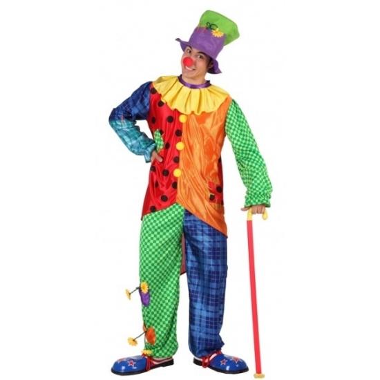 Carnaval Gekleurd clowns kostuum voor mannen