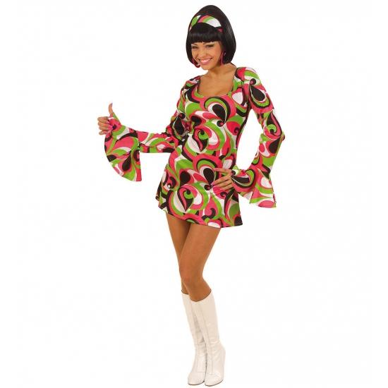 Carnavalskostuum winkel Carnaval Gekleurd hippie jurkje voor dames Geschiedenis kostuums