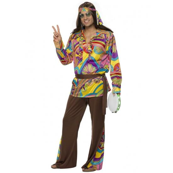 Carnaval Gekleurd hippie pak voor heren