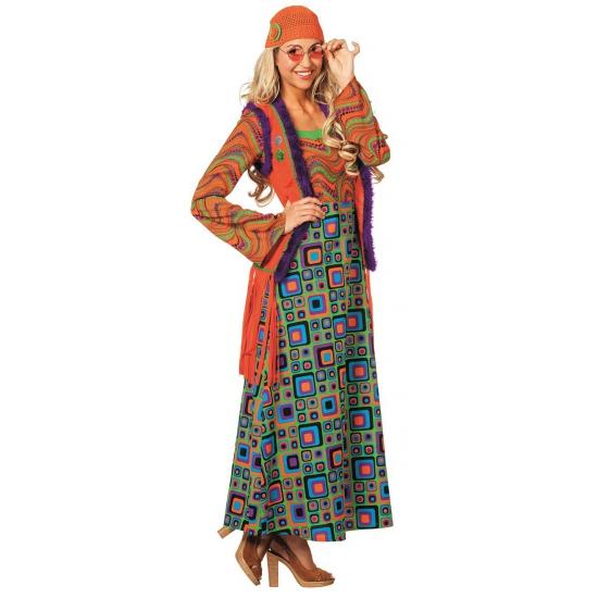 Carnaval Gekleurd hippie pak voor vrouwen Geen Geschiedenis kostuums