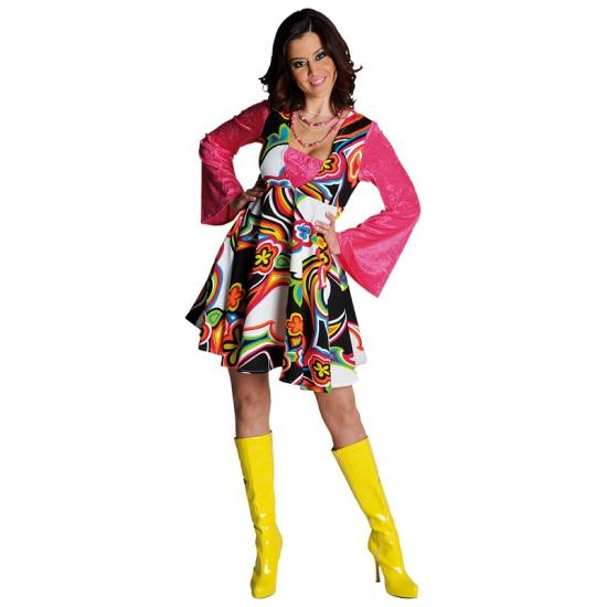 Carnaval Gekleurde hippie jurk voor dames