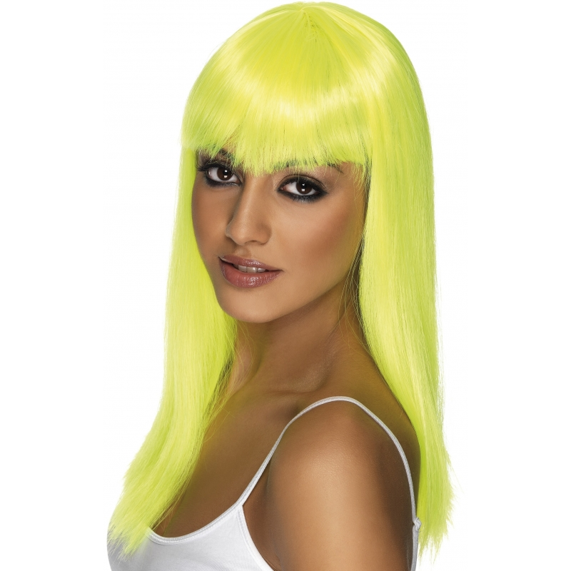 Carnaval Gele damespruik stijl haar
