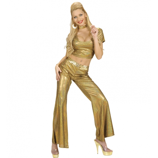 Carnaval Glimmende gouden damesbroek