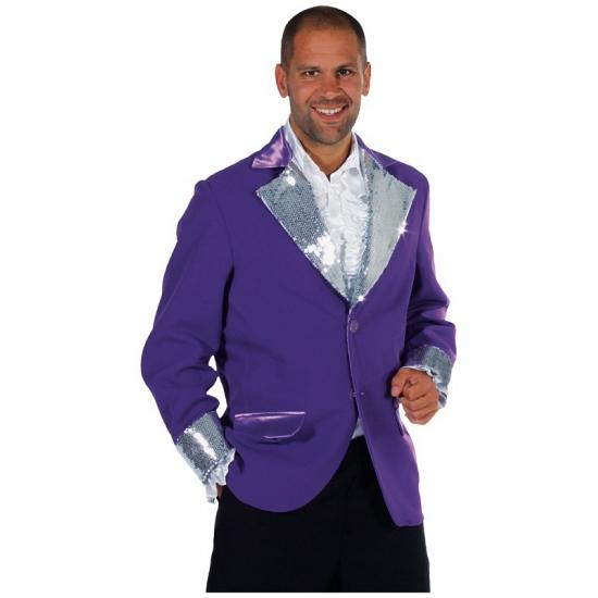 Carnaval Glitter colbert paars/zilver