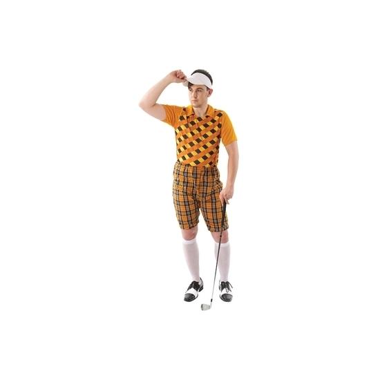 Carnaval Golf kostuum oranje voor heren