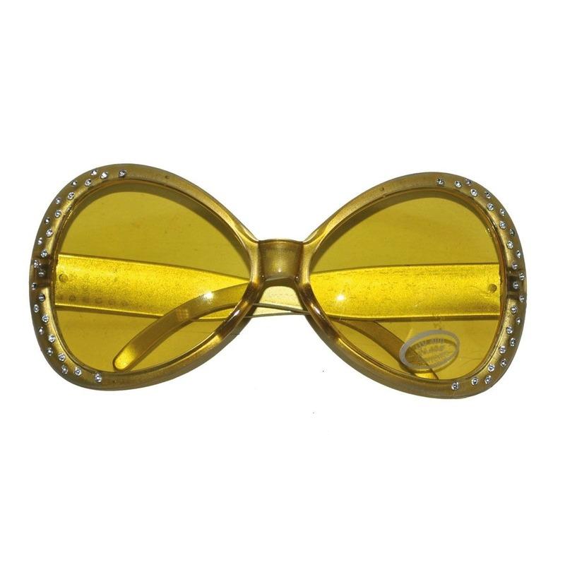 Carnaval Gouden disco bril met diamantjes