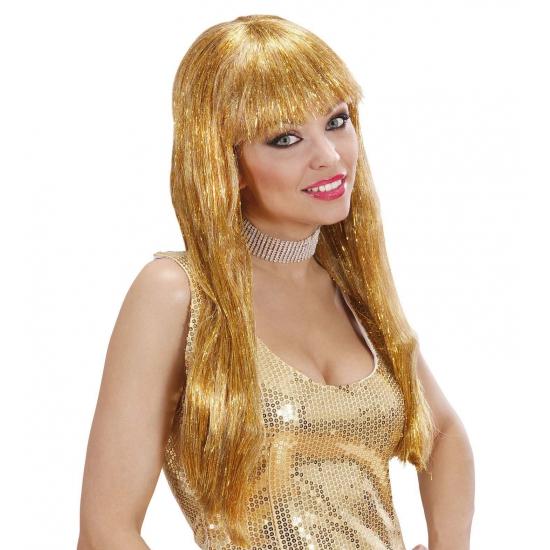 Pruiken Carnavalskostuum winkel Carnaval Gouden glitter pruik