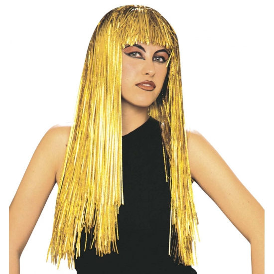 Carnaval Gouden lange lurex pruik volwassene Carnavalskostuum winkel Het leukste