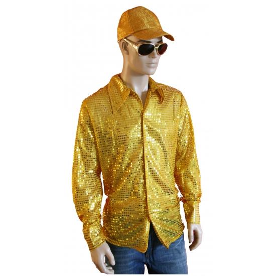 Carnaval gouden pailletten blouse heren