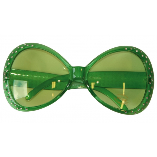 Carnaval Groene zonnebril met diamantjes