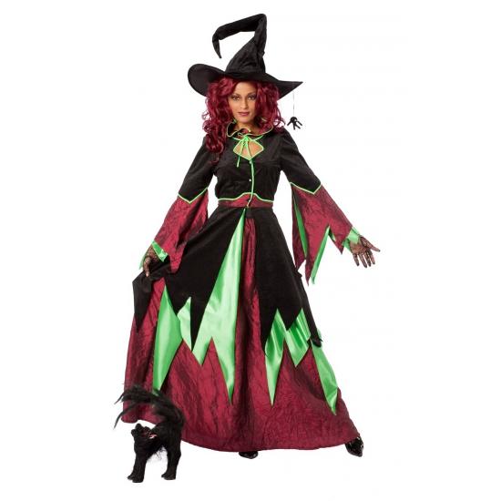 Carnaval Heksen kostuum groen/rood vrouwen