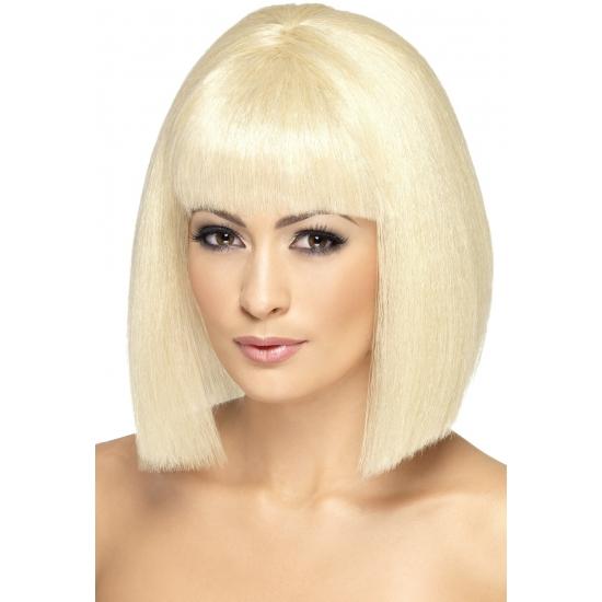 Smiffys Carnaval Korte blonde damespruik EVA Pruiken