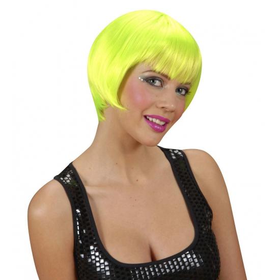 Carnaval Korte damespruik neon groen