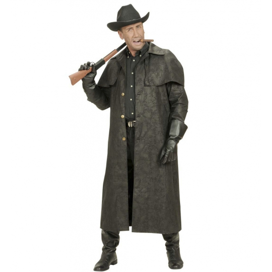 Carnaval Lange zwarte cowboys jas
