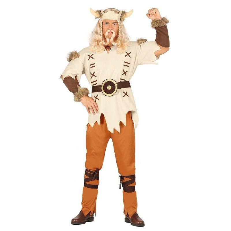 Carnaval Lichtbruin viking kostuum voor heren