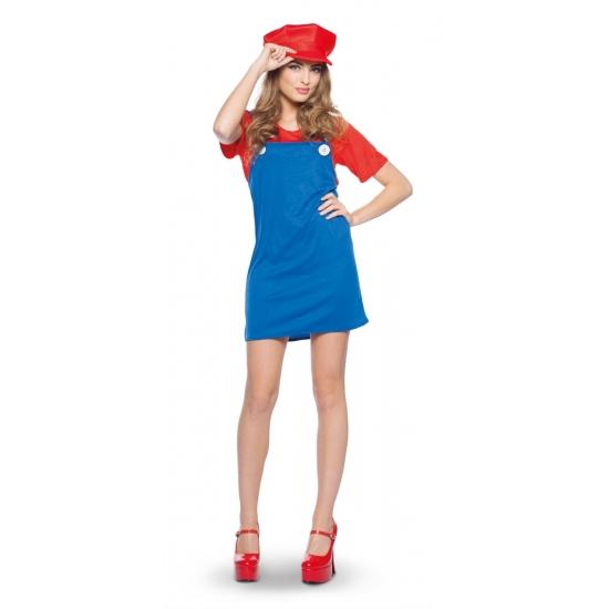 Carnaval Loodgieter jurkje rood voor dames