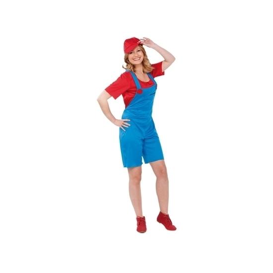 Carnaval Loodgieter kostuum rood voor dames