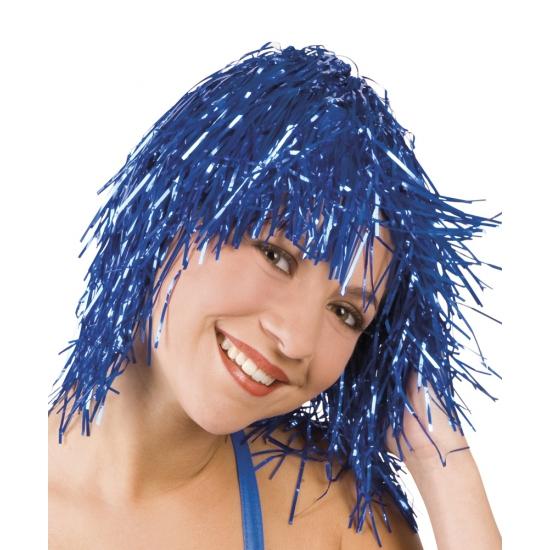 Pruiken Carnaval Lurex pruik blauw