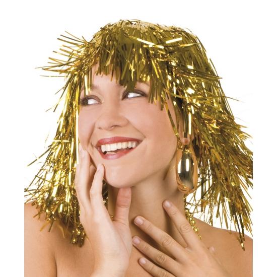 Carnaval Lurex pruik goud