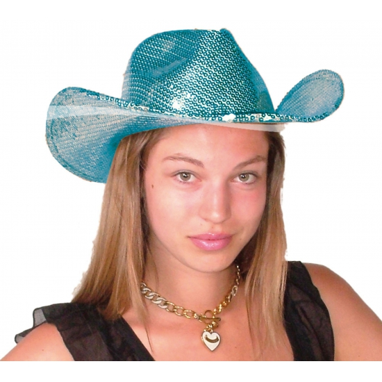 Feest hoeden Geen Carnaval Luxe glitter cowboy hoed blauw