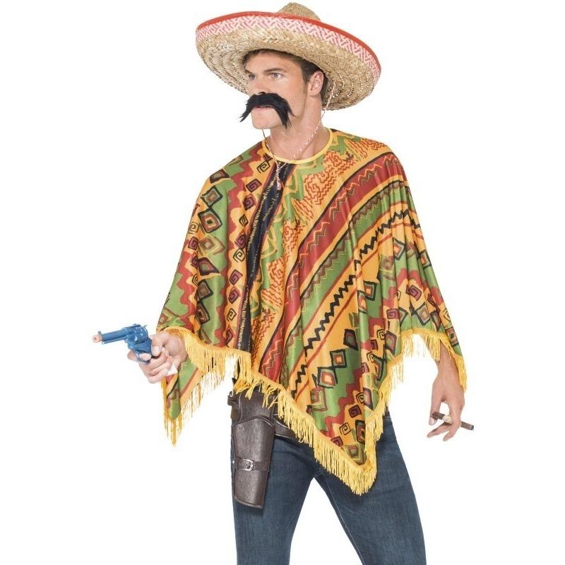 Carnaval Mexicaanse poncho en snor voor heren