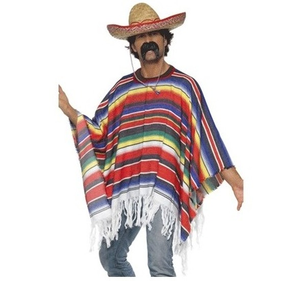 Carnaval Mexicaanse poncho met sombrero
