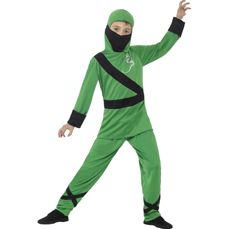 Carnaval Ninja kostuum groen/zwart voor kinderen