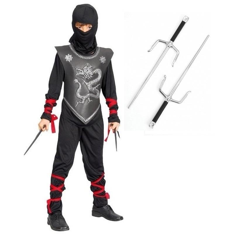 Carnaval Ninja kostuum maat L met dolken voor kinderen