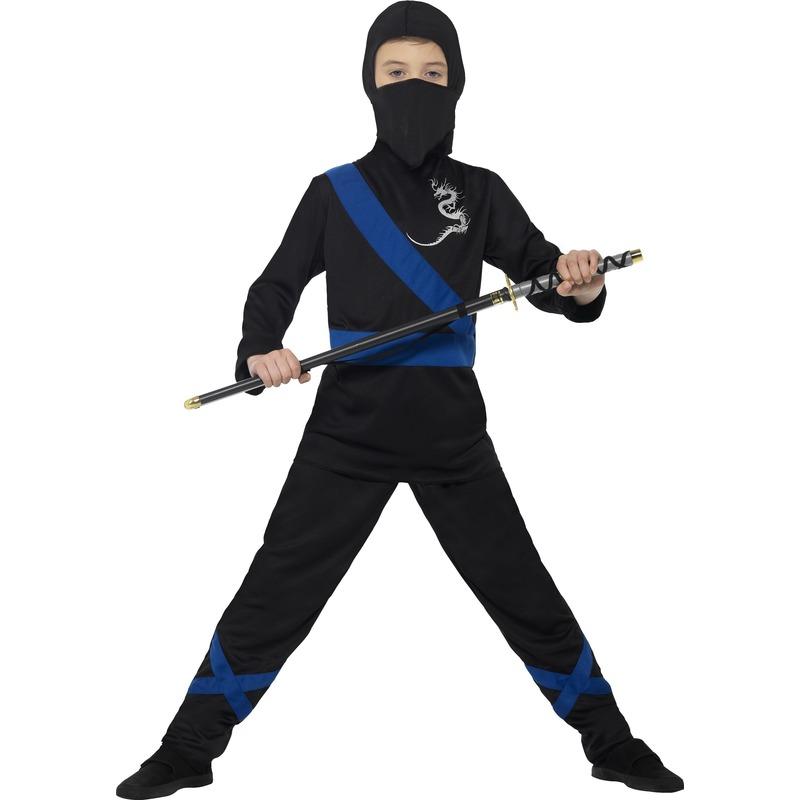 Carnaval Ninja kostuum zwart/blauw voor kinderen
