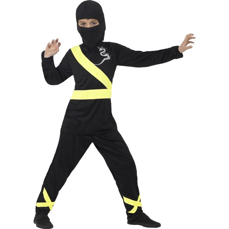 Carnaval Ninja kostuum zwart/geel voor kinderen