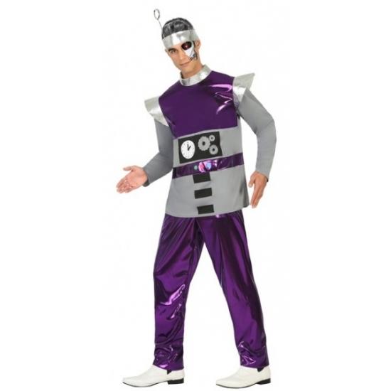 Carnaval Paars robot kostuum voor heren