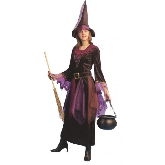Carnaval Paarse heksen jurk inclusief hoed
