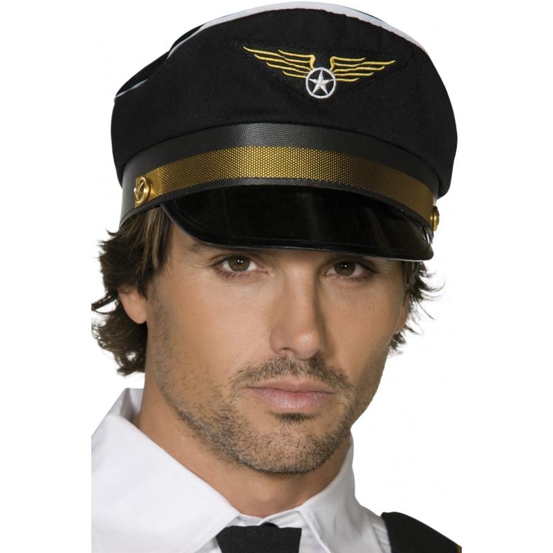 Feest hoeden Smiffys Carnaval Piloten pet zwart goud