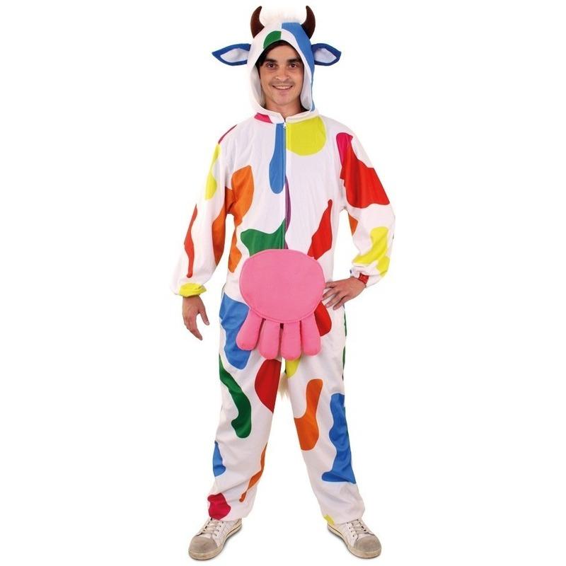 Carnaval Pluche bonte koe onesie voor heren
