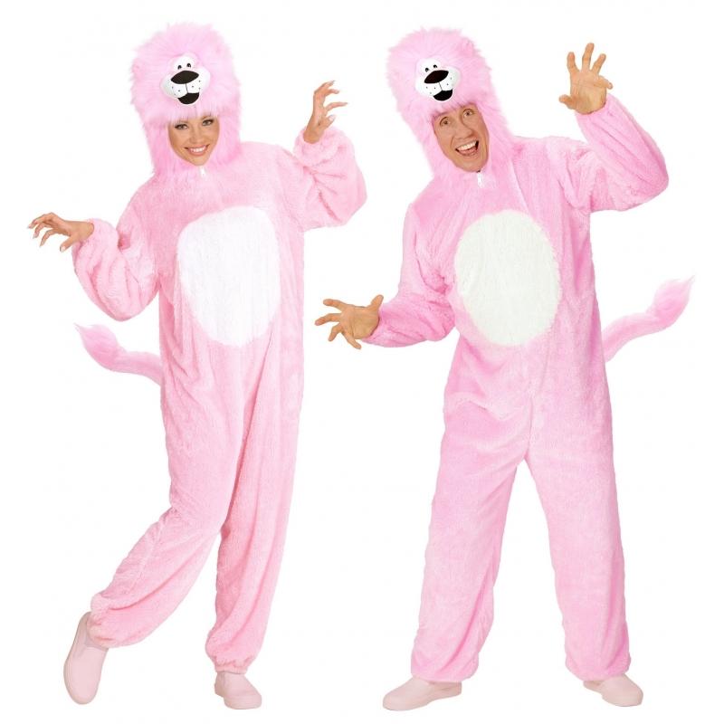 Carnaval Pluche roze leeuw kostuum