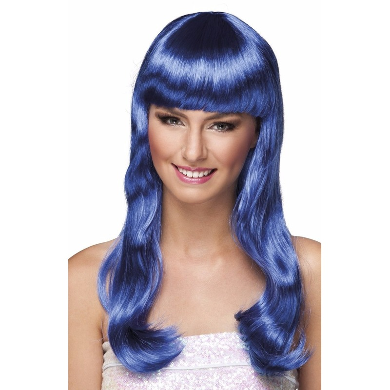 Carnaval pruik lang en blauw dames Carnavalskostuum winkel Pruiken