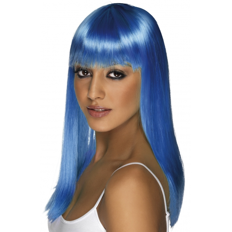 Carnaval Pruik neon blauw dames