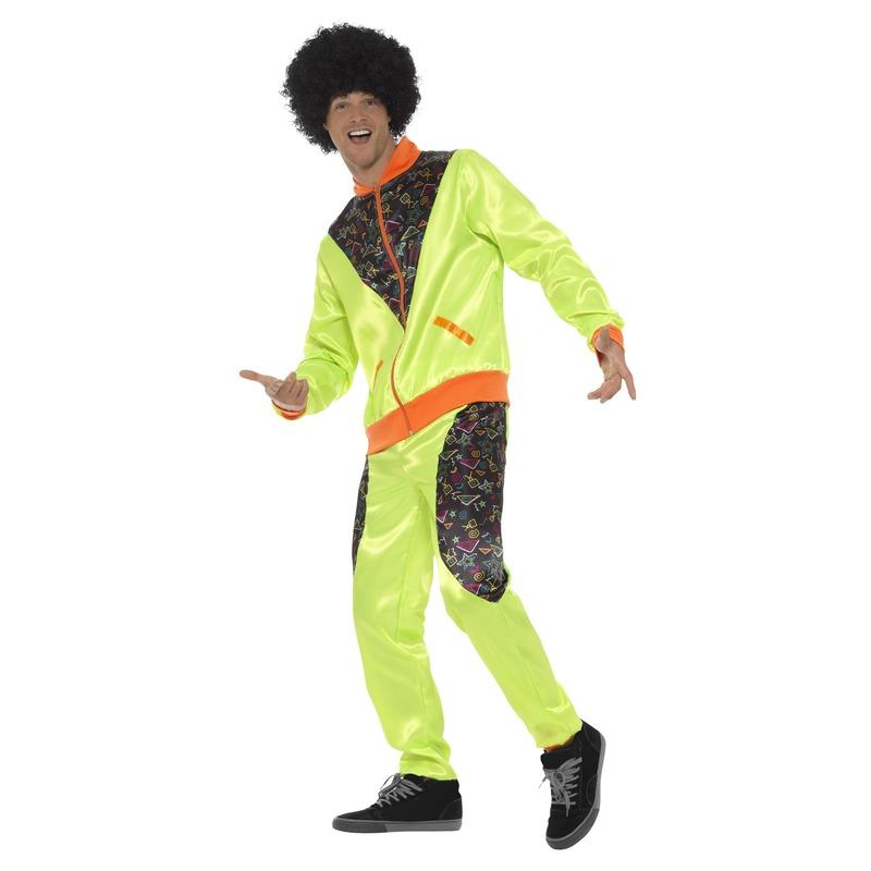 Carnaval Retro trainingspak kostuum neon groen