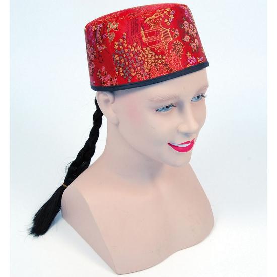 Carnaval Rood Chinees hoedje met vlecht Carnavalskostuum winkel Feest hoeden